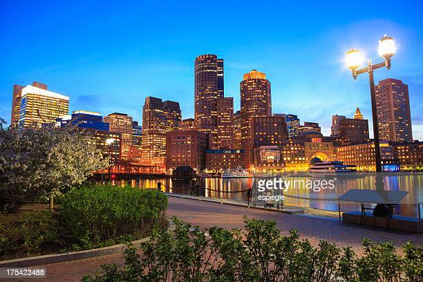 Boston Rowe's Wharf waterfront at night