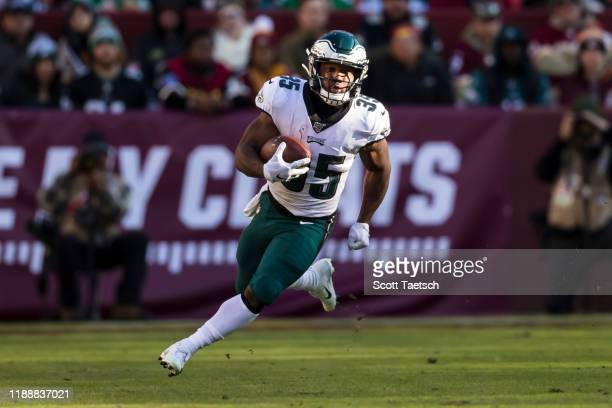 Boston Scott of the Philadelphia Eagles carries the ball against the Washington Redskins during the first half at FedExField on December 15 2019 in...