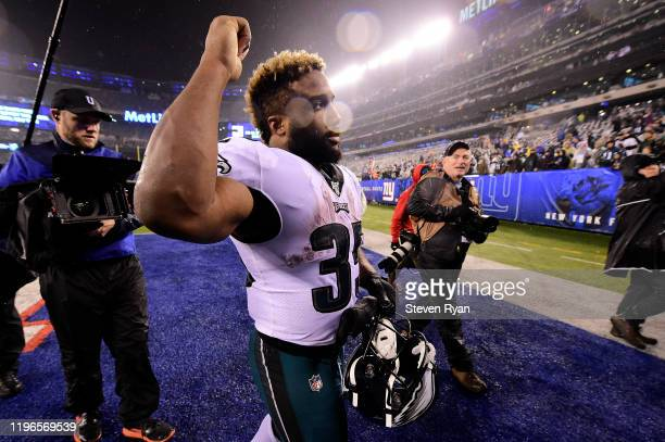 Boston Scott of the Philadelphia Eagles celebrates his teams win over the New York Giants at MetLife Stadium on December 29 2019 in East Rutherford...