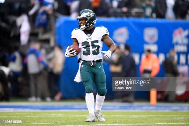 Boston Scott of the Philadelphia Eagles warms up prior to the game against the New York Giants at MetLife Stadium on December 29 2019 in East...