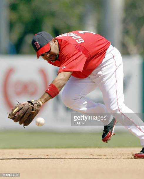 Boston shortstop Alex Gonzalez lunges for a ball during Saturday's game against Toronto at City of Palms Park in Ft Myers Florida on March 25 2006