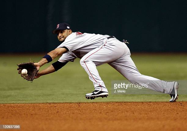 Boston shortstop Alex Gonzalez makes the catch on this line drive during Tuesday's action against Tampa Bay at Tropicana Field in St Petersburg...