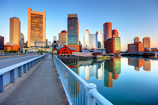Boston skyline along Fort Point 1139300286
