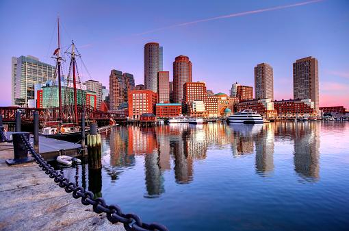 Boston Skyline along the Harborwalk 486143500