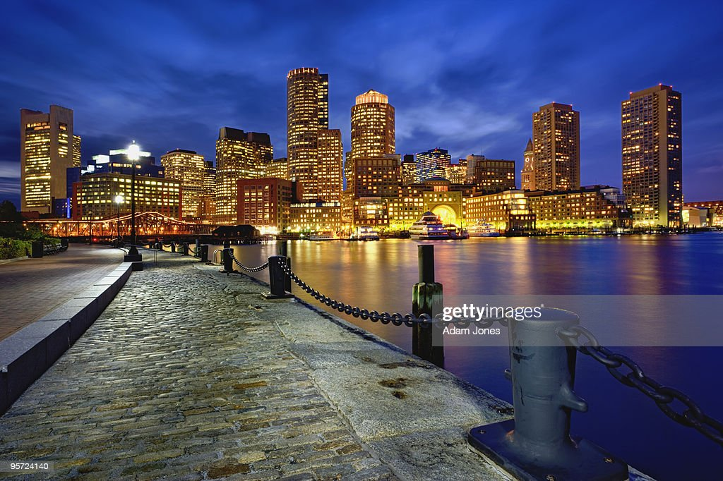 Boston skyline at dusk : Stock Photo