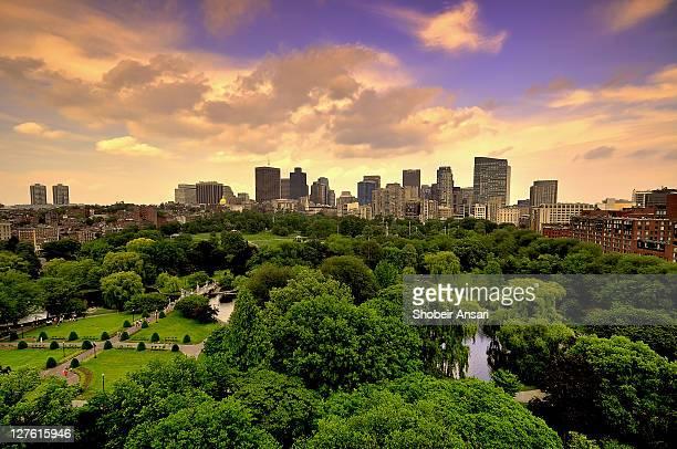 boston skyline at sunrise - boston stock-fotos und bilder