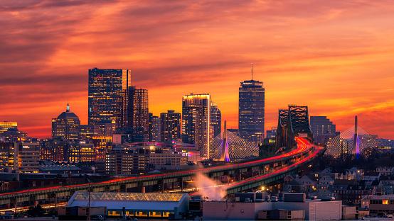 Boston skyline at sunset 1086350060