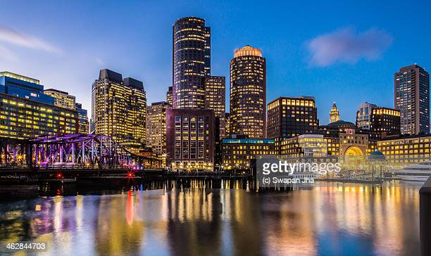 boston skyline at sunset - boston stock pictures, royalty-free photos & images
