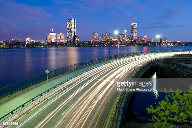 boston skyline from cambridge - cambridge massachusetts stock pictures, royalty-free photos & images