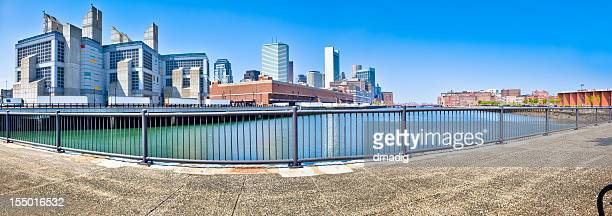 Boston Skyline from Fort Point Channel Under Clear Blue Sky
