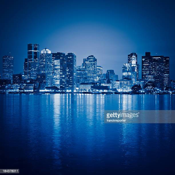 Boston skyline from the south port at night