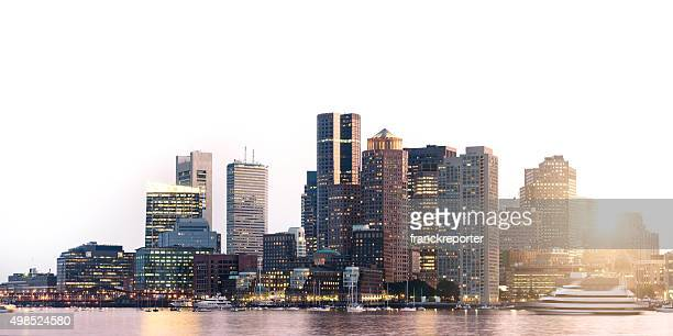 boston skyline on sunset - boston skyline stock pictures, royalty-free photos & images