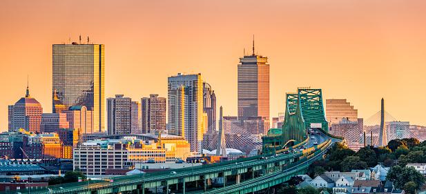 Boston skyline panorama 645484518