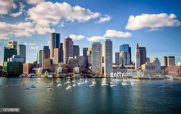 boston skyline - massachusetts stock pictures, royalty-free photos & images