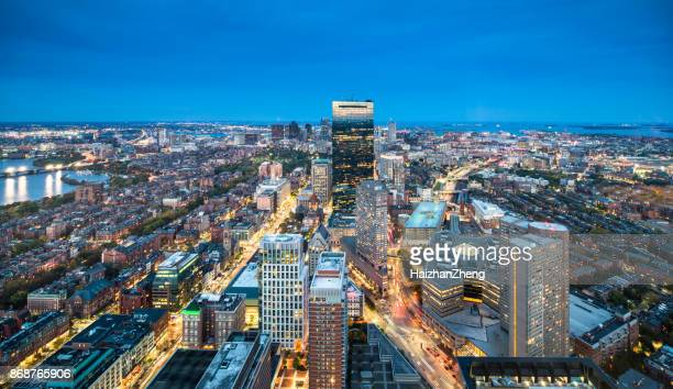 boston skyline - mid section stock photos and pictures