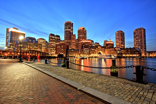 Boston Skyline with Financial District and Boston Harbor at Dusk 978356826