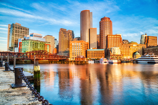 Boston Skyline with Financial District and Boston Harbor at Sunrise 1188865195