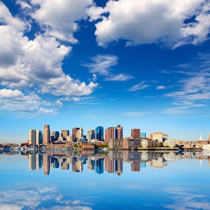 Boston skyline with river sunlight Massachusetts 497711836
