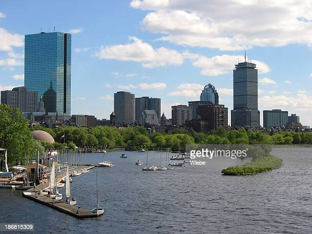 Boston Skyline with Sailboat Harbor