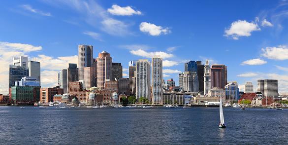 Boston skyline with sailboat on the foreground, Massachusetts, USA 1174508434