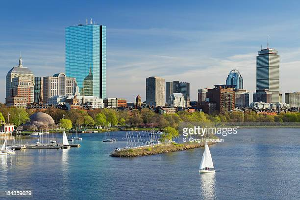 Boston skyline with sailing boats and skyscrapers