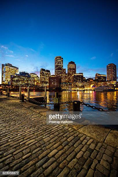 boston skyscrapers at night - boston skyline stock pictures, royalty-free photos & images