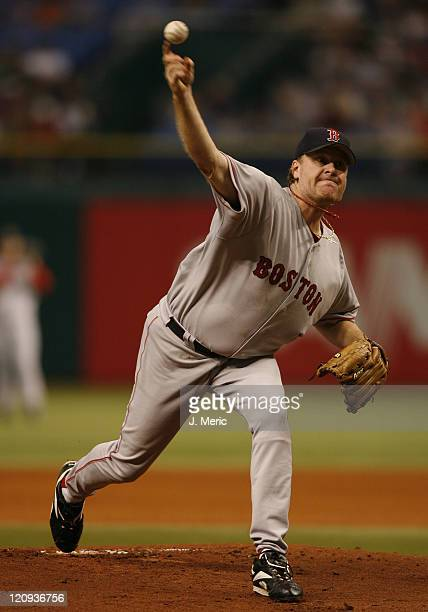 Boston starting pitcher Curt Schilling makes a pitch in Tuesday's game against Tampa Bay at Tropicana Field in St Petersburg Florida on July 4 2006