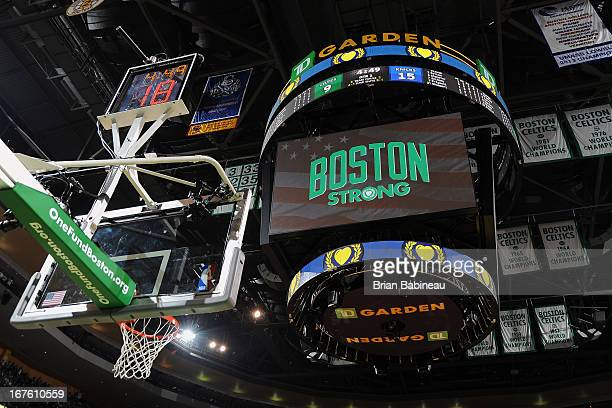 Boston Strong logo on the jumbotron during a time out during the game of the Boston Celtics against the New York Knicks during Game Three of the...
