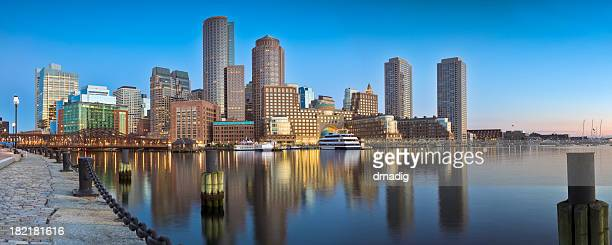 Boston Sunrise Under Clear Blue Sky and Calm Harbor Panorama