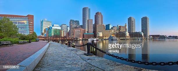 Boston Sunrise With Skyscrapers Reflecting in a Glassy Channel Panorama