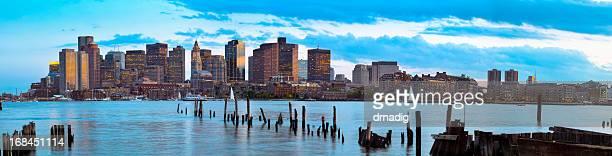 Boston Sunset Across Calm Waters of Boston Harbor Panorama
