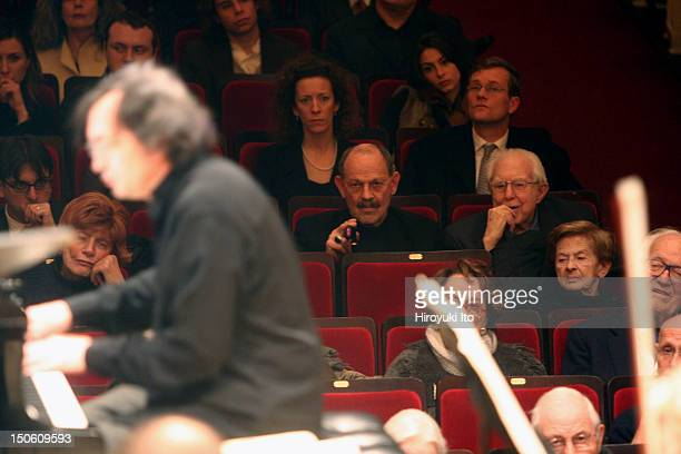 Boston Symphony Orchestra at Carnegie Hall on Monday night, February 1, 2010.This image;The composer Elliott Carter in the audience , listening to...