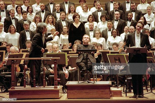 Boston Symphony Orchestra performing Britten's War Requiem at Carnegie Hall on Wednesday night March 1 2000This imageFrom left Seiji Ozawa Thomas...