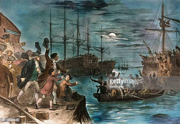 Boston Tea Party destroying tea in Boston Harbor December 16 1773