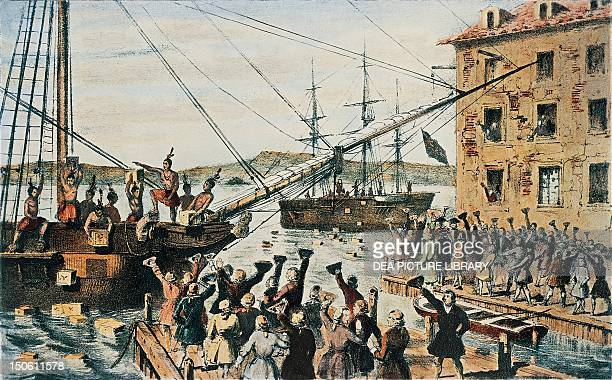 Boston Tea Party English tea chests thrown overboard in Boston Harbor by colonists December 16 1773 The United States 18th century