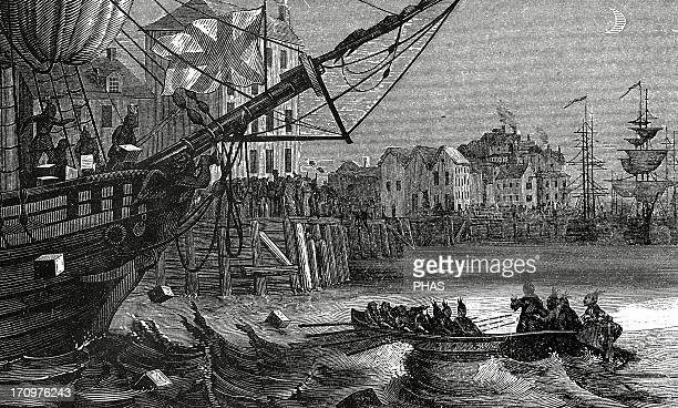 Boston Tea Party Group of colonists destroying tea of the ship of the East India Company 19th century Engraving