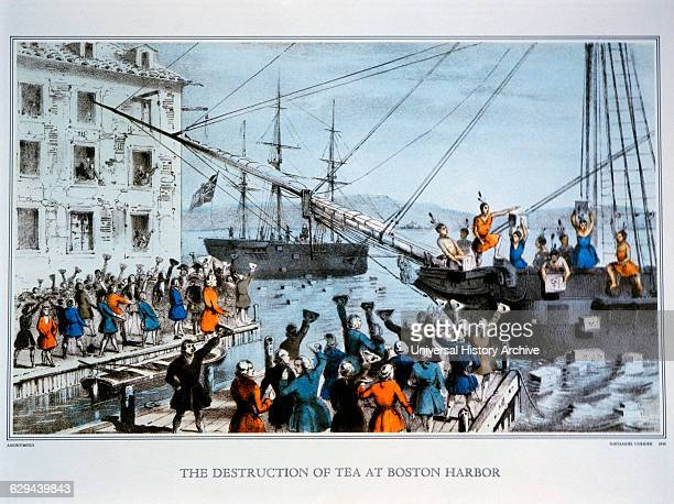Boston Tea Party Nathaniel Currier Lithograph circa 1846