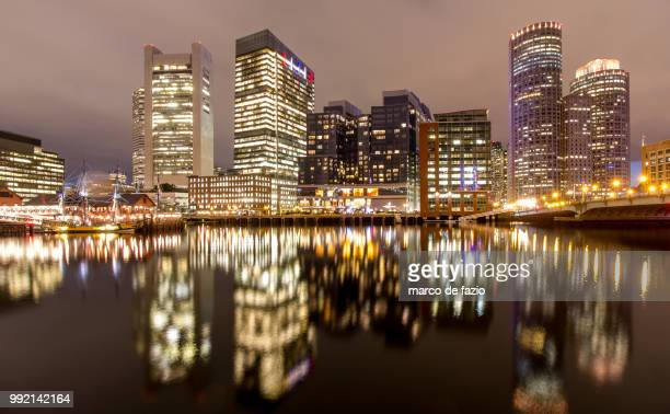 boston tea party reflection - boston tea party stock photos and pictures