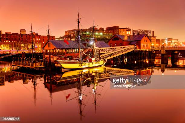 boston tea party ships along the waterfront - boston stock pictures, royalty-free photos & images