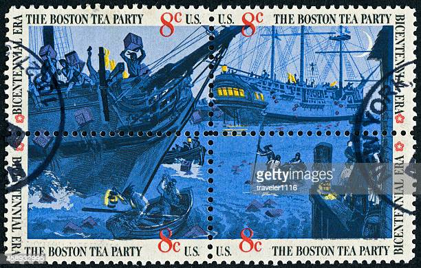 boston tea party stamp - boston tea party stock photos and pictures