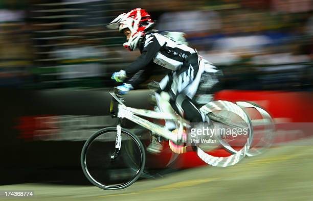 Boston Tordoff of New Zealand competes in the 8yr old boys during day two of the UCI BMX World Championships at Vector Arena on July 25 2013 in...