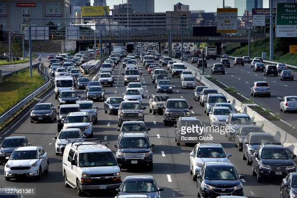 Boston traffic at evening rush hour on Aug. 6, 2020. State data suggest that traffic is rising toward pre-pandemic levels.