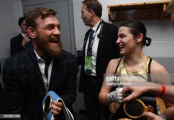 Boston United States 20 October 2018 UFC fighter Conor McGregor shares a joke with Katie Taylor following her WBA IBF Female Lightweight World title...