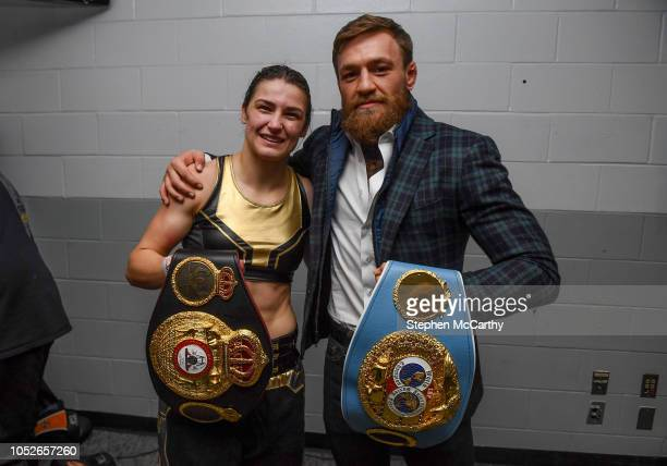 Boston United States 20 October 2018 UFC fighter Conor McGregor poses with Katie Taylor following her WBA IBF Female Lightweight World title bout...