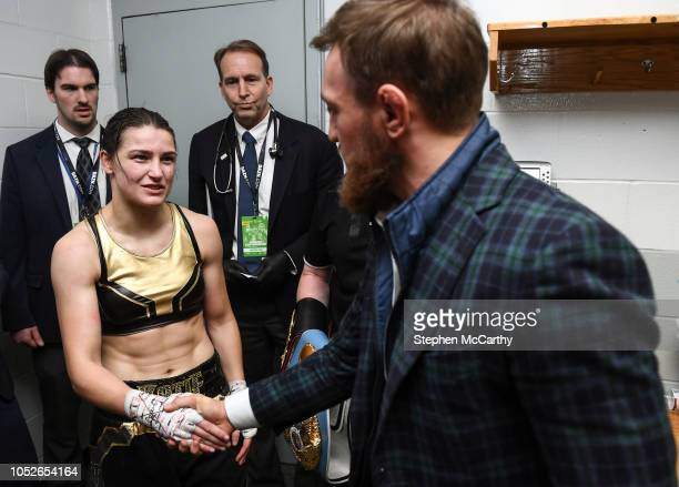 Boston United States 20 October 2018 UFC fighter Conor McGregor with Katie Taylor following her WBA IBF Female Lightweight World title bout against...