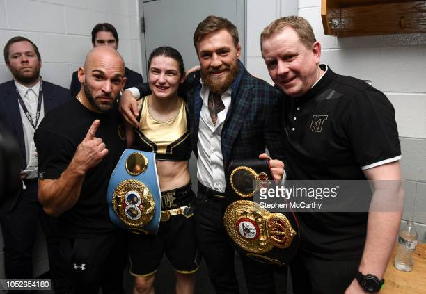 Boston United States 20 October 2018 UFC fighter Conor McGregor with Katie Taylor her manager Brian Peters and trainer Ross Enamait following her WBA...