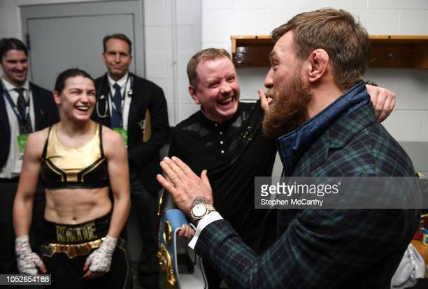 Boston United States 20 October 2018 UFC fighter Conor McGregor with Katie Taylor and her manager Brian Peters following her WBA IBF Female...