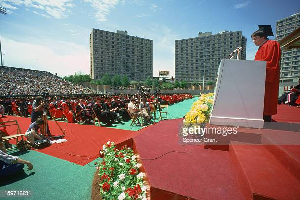 Boston University graduation at Nickerson Field, Brookline, Massachusetts, 1977.