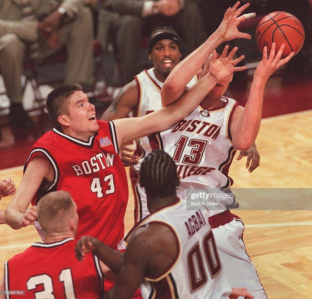 low priced f3f99 a93ac Boston University men's basketball's, Ryan Butt, tries to ...