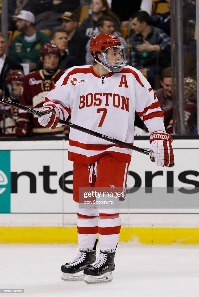 new arrival 4fdfa 9fd33 Boston University Terriers defenseman Charlie McAvoy skates ...